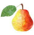 low poly pear on white background low poly vector image vector image