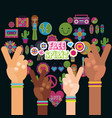 multiracial hands peace and love fre spirit vector image
