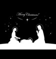 nativity scene white on black vector image vector image