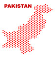 pakistan map - mosaic of valentine hearts vector image vector image