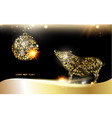 pig silhouette over golden christmas card vector image vector image