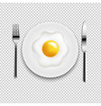 plate with fried eggs fork and knife transparent vector image vector image