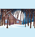 scene with wooden hut in snow winter vector image vector image