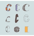 set of colorful alphabet letters C vector image vector image