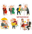 set of elder senior couples in love valentine set vector image