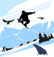 Snowboarder Silhouette Jump vector image vector image