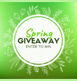 spring giveaway promotional card for instagram vector image vector image