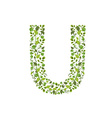 Spring green leaves eco letter U vector image vector image
