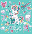 sticker pack cool music unicorn with elements vector image