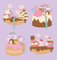 sweet cakes set with kawaii characters vector image vector image