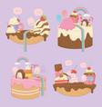 sweet cakes set with kawaii characters vector image