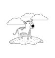 tiger cartoon in outdoor scene with clouds in vector image vector image