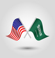 two crossed american and arabian flags vector image vector image