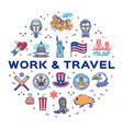 usa linear icons work and travel circle vector image vector image