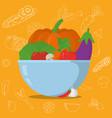 vegetables in bowl cartoons vector image