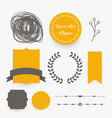 wedding decoration design elements in yellow theme vector image