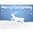 white merry christmas card deer and fawn vector image