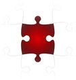 White Puzzle Pieces with One Red Missing vector image
