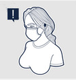 woman face in respiratory mask vector image vector image
