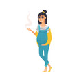 young pretty pregnant woman smoking a cigarette vector image
