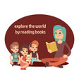 young teacher and happy kids reading book vector image