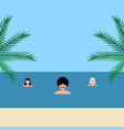young women and man girlfriends swim in sea on vector image