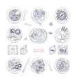 collection of hand drawn dishes of asian cuisine vector image