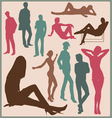 Young people silhouettes vector image