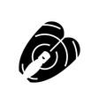 fish steak icon black sign vector image