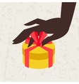Card female hand holding a gift box vector image