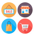 Shopping flat circle icons set vector image
