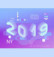 2019 neon holographic memphis style banner vector image vector image