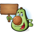 Avocado cartoon character holding wooden sign