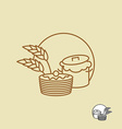 Batter and pancakes linear emblem for bakeries vector image