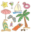 beach vacation icon set vector image vector image