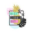 best summer day tropical exotic plants stylish vector image vector image