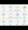 bright round linear icons with special symbols set vector image vector image