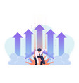 businessman in superhero landing pose with growth vector image