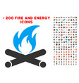 campfire icon with bonus power collection vector image