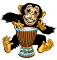 cartoon chimp native african drummer vector image vector image