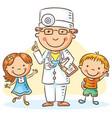 cartoon doctor with happy little children vector image vector image