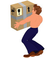 Cartoon topless man holding big box back view vector image vector image