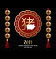 chinese new year pig 2019 gold ornament card vector image