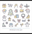 christmas and new year symbols linear icons with vector image vector image