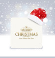 christmas santa claus hat with and white banner vector image vector image