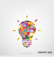 Colorful creative light bulb sign vector image vector image