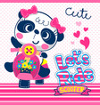 cute panda girl on pink scooter vector image vector image