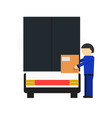 delivery icon with loader man near freight truck vector image