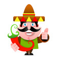 exican man in sombrero showing okay sign colorful vector image