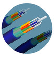 fiber optics cable technology set in circle vector image